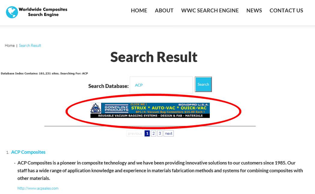 1 Month Rotating Banner Ad on WWC Search Results