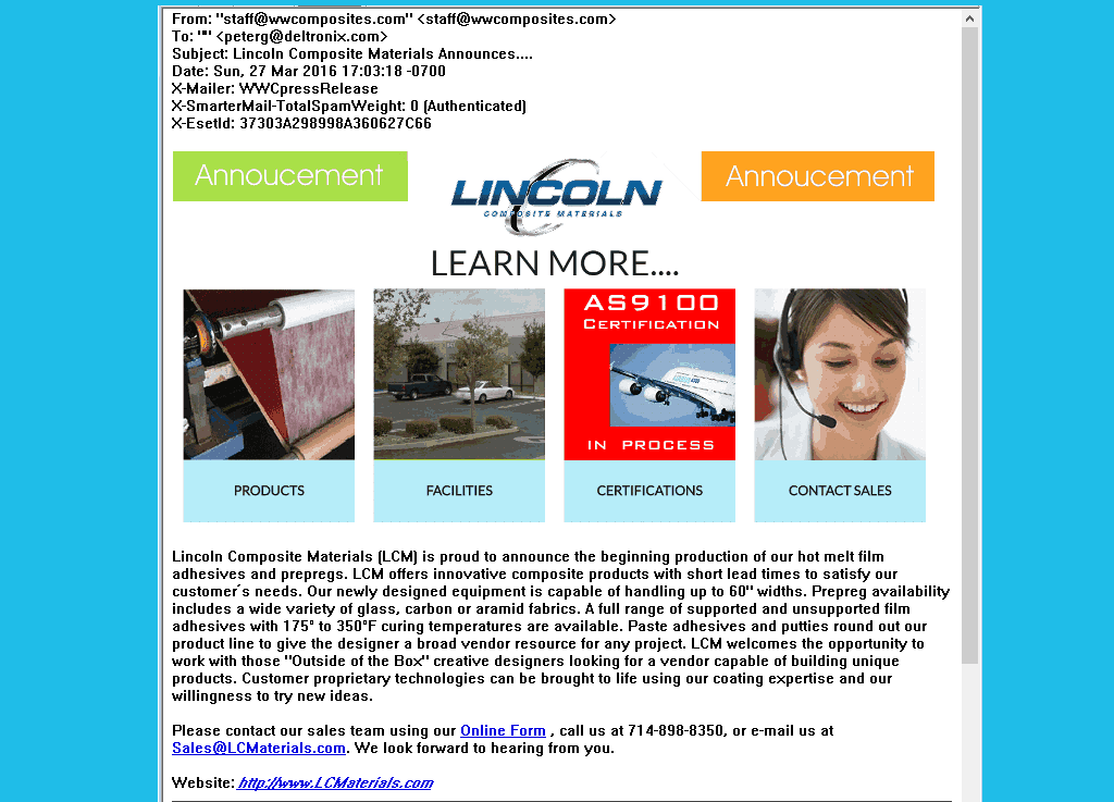 Custom Email Distribution to Worldwide Composites Newsletter  Email List